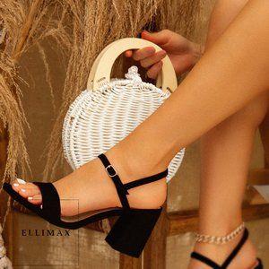NEW🔥 Open Toe Ankle Strap Sandals Med Block Heel